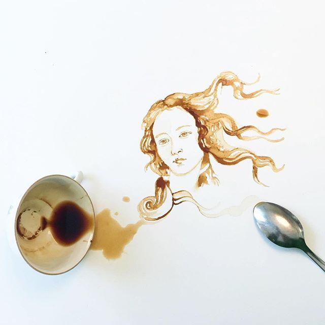 Visage à partir de tâches de café - Giulia Bernardelli