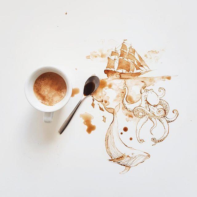 Monde marin avec tâche de café - Giulia Bernardelli
