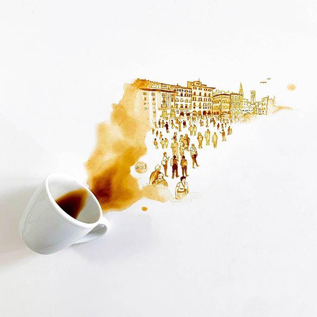 œuvres à partir de tâches de café - Giulia Bernardelli