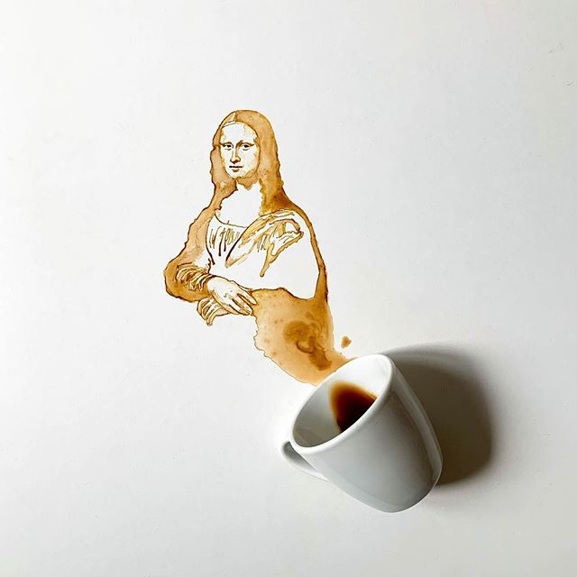 La Joconde à partir de tâches de café - Giulia Bernardelli