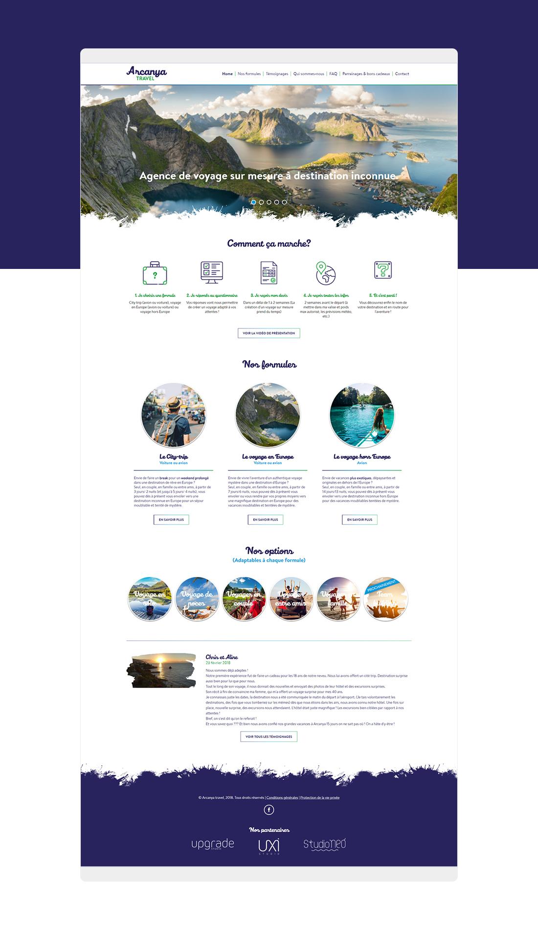 Arcanya travel - Maquette du site internet par StudioNeo