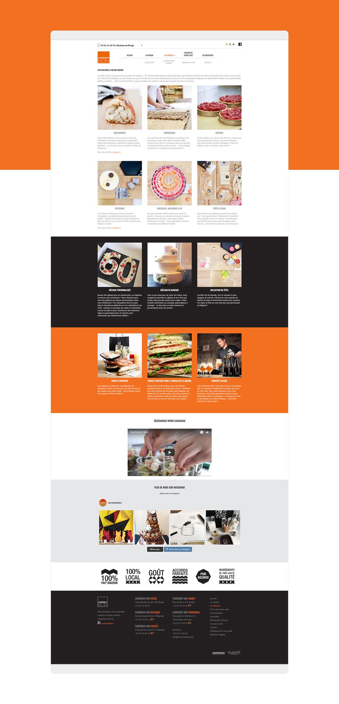 Carrément bon, template design du site internet